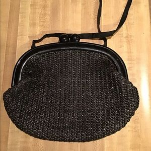 Vintage 50s Black Woven Gumball Clasp Purse